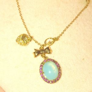 Juicy Couture Turquoise Cabachon Gold Necklace
